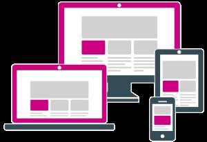 Ein Computer Monitor, ein Laptop, ein Tablet und ein Smartphone zeigen schematisch eine responsive Website.
