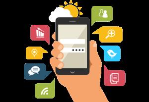 Animierte Darstellung verschiedener Methoden für Online-Marketing-Kampagnen auf Mobiltelefonen.