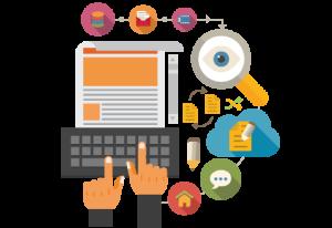 Animierte Darstellung einer zielgruppenoptimierten programmatischen Werbekampagne durch gezielte Schaltung von Werbung auf Medien wie Mobile, Display und Social Media.