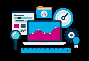 Animierte Darstellung der Suchmaschinenwerbung unter Berücksichtigung der Metriken, welche für das Targeting von Websites und das Ranking von Webseiten in den Suchergebnissen optimiert wurden.