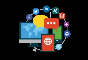 Animierte Darstellung verschiedener Kanäle das Social Media Marketings.