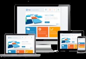 Darstellung einer Webseite auf den wichtigsten Consumer Geräten: Desktop, Laptop, Smartphone und Tablet.