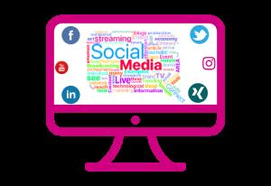 Auf einem Computer Monitor sind Social Media Icons sowie Social Media Begriffe als Wordcloud dargestellt.