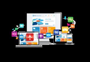 Eine Darstellung der Digitalraum website.development Dienstleistungen, für verschiedene Branchen wie z.B. e-Commerce, Tourismus, Gaming, Social Media usw., auf verschiedenen Geräten: Desktop, Smartphone, Tablet und Laptop.